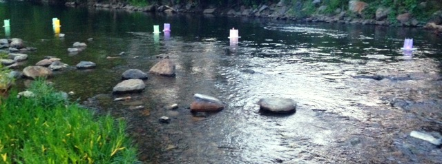 Candle floats on the Roanoke River.