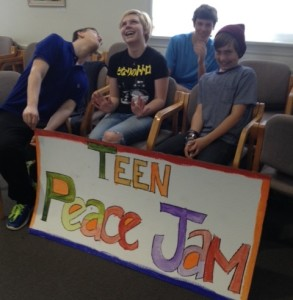 teen peace jam sign and kids